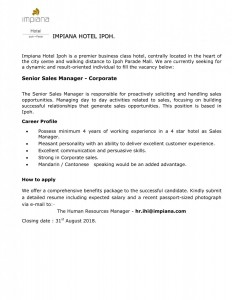Sr.Sales Manager Job Adv 0818